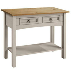 Chloe Solid Pine Console Table 2 Drawer Grey | Buy From CONSOLE TABLES UK | FREE DELIVERY UK MAINLAND