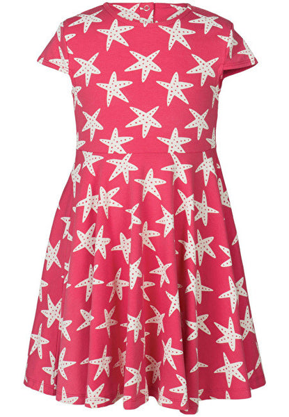 Frugi - Spring Skater Dress - Rasberry Starfish - Little GEMS Boutique - 1