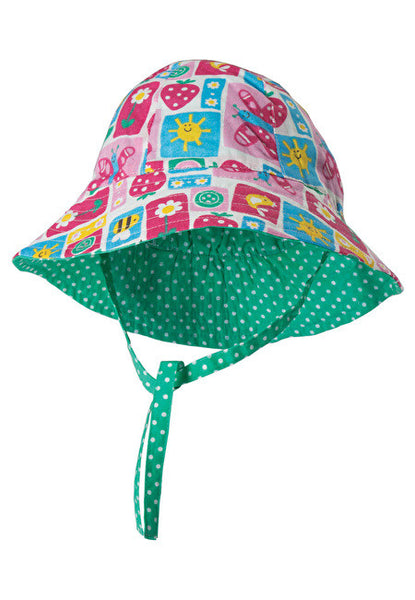 Frugi - Reversible Ditsy Hat - Strawberry Patchwork hat Frugi - Little GEMS Boutique