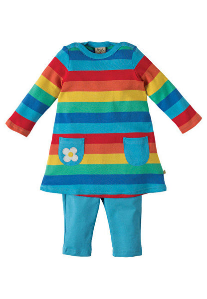 Frugi - Tunic and Legging Set - Rainbow Stripe - Little GEMS Boutique - 1
