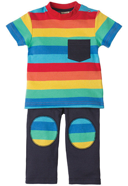 Frugi - Play Days Outfit - Rainbow Stripe - Little GEMS Boutique - 1