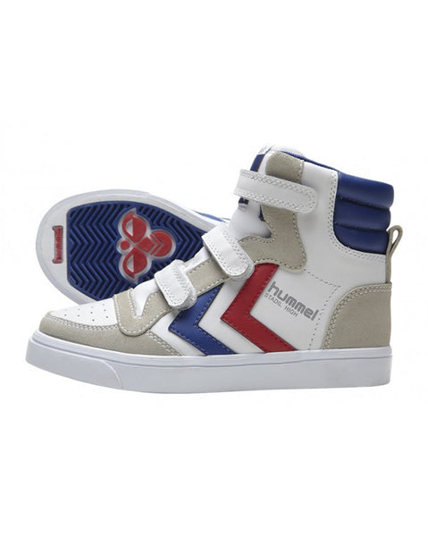 Hummel - Stadil Jr Leather High - White/Blue/Red trainers Little GEMS Boutique - Little GEMS Boutique