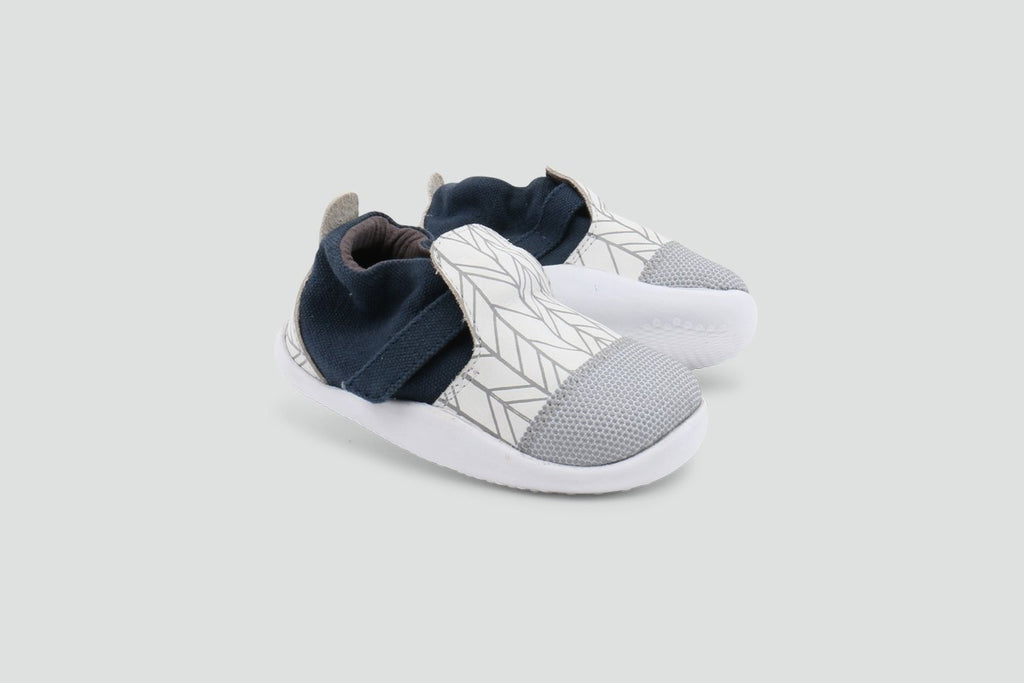 Bobux - Xplorer - White/Grey Herringbone City - First Walker Shoes Bobux - Little GEMS Boutique