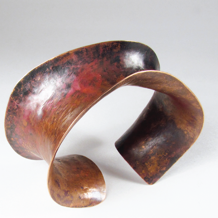 Copper cuff with rich fire patina
