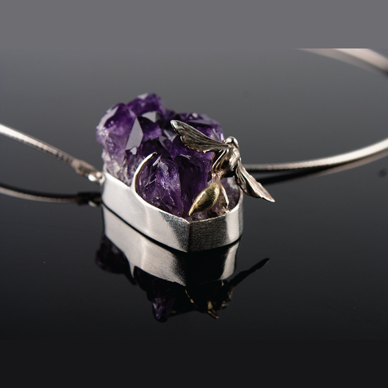 Sepulture No.2 - Fine Silver Encased Wasp and Amethyst Geode Necklace