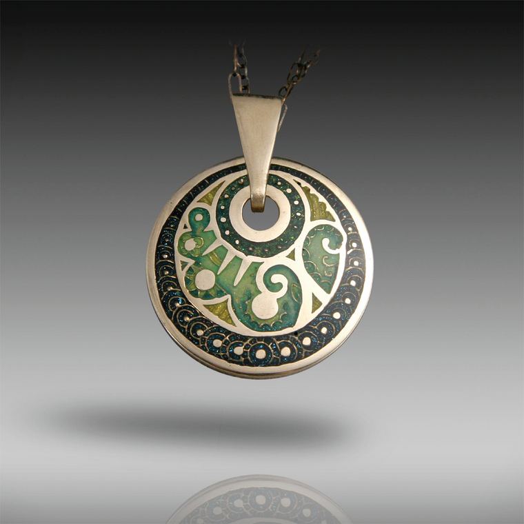 """Encircled""  Pendant, Hand-Painted and Resin Champleve, Bronze"
