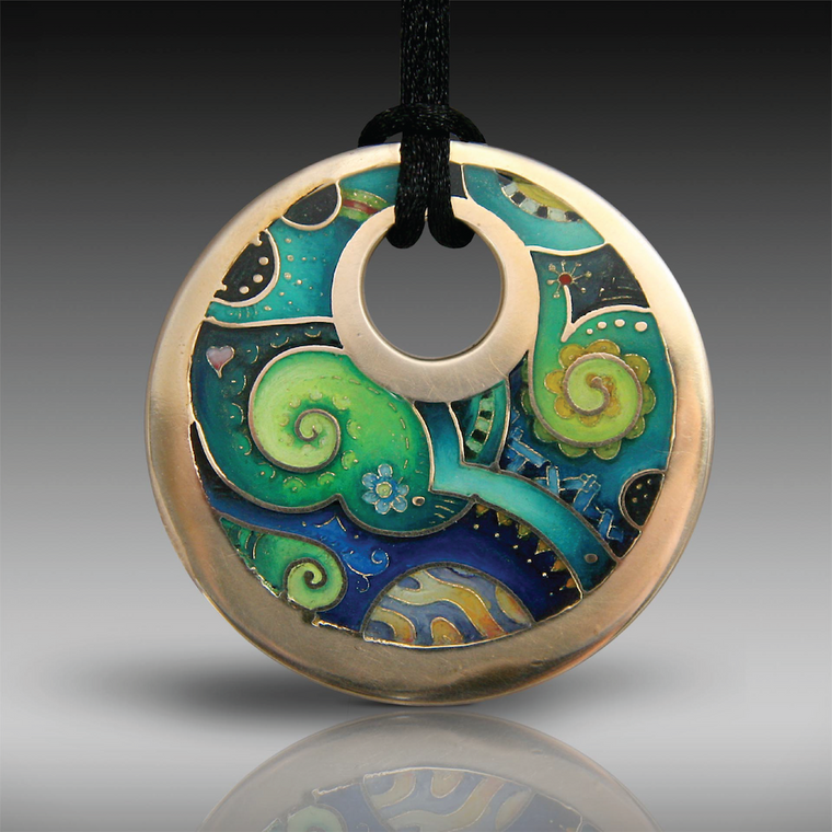 """Paisley Landscape"" Bronze, Hand-Painted and Resin Champlevé Pendant"