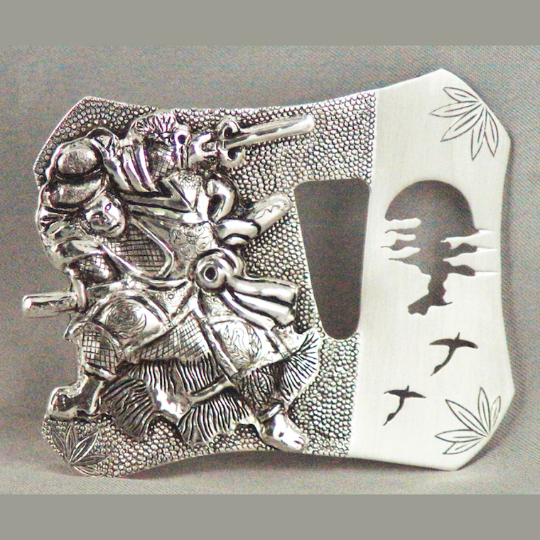 Japanese samurai sterling silver belt buckle