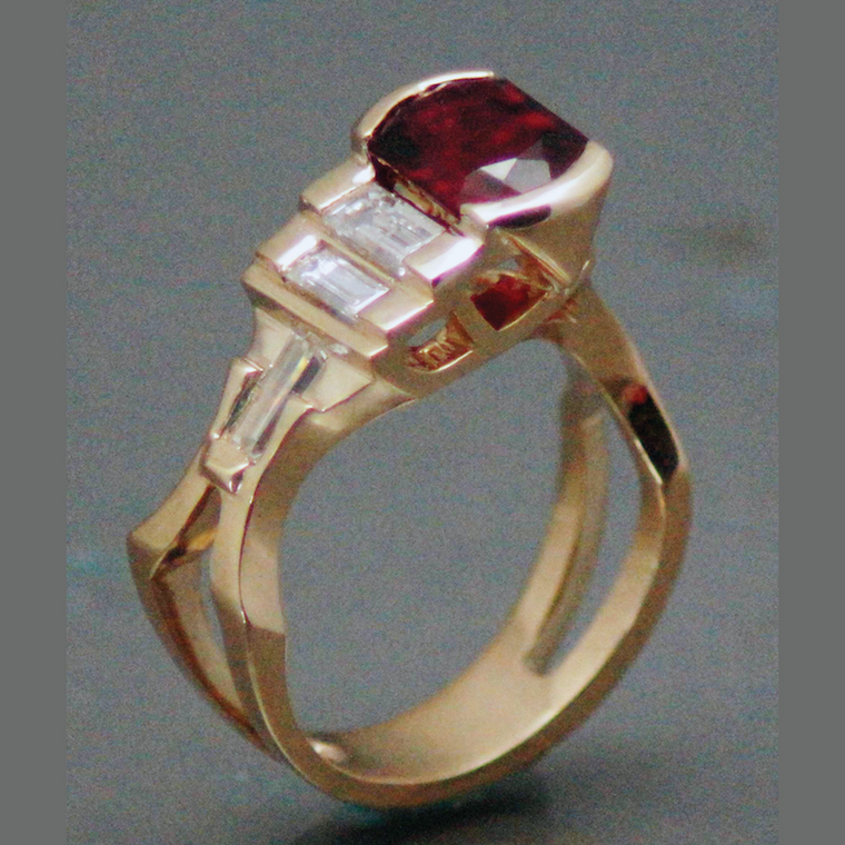 14kt yellow gold, rubalite tourmaline in a lozenge cut and baguette diamonds