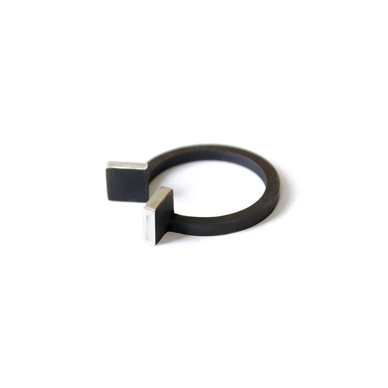Ana Pina Modular ring sterling silver black oxide architecture