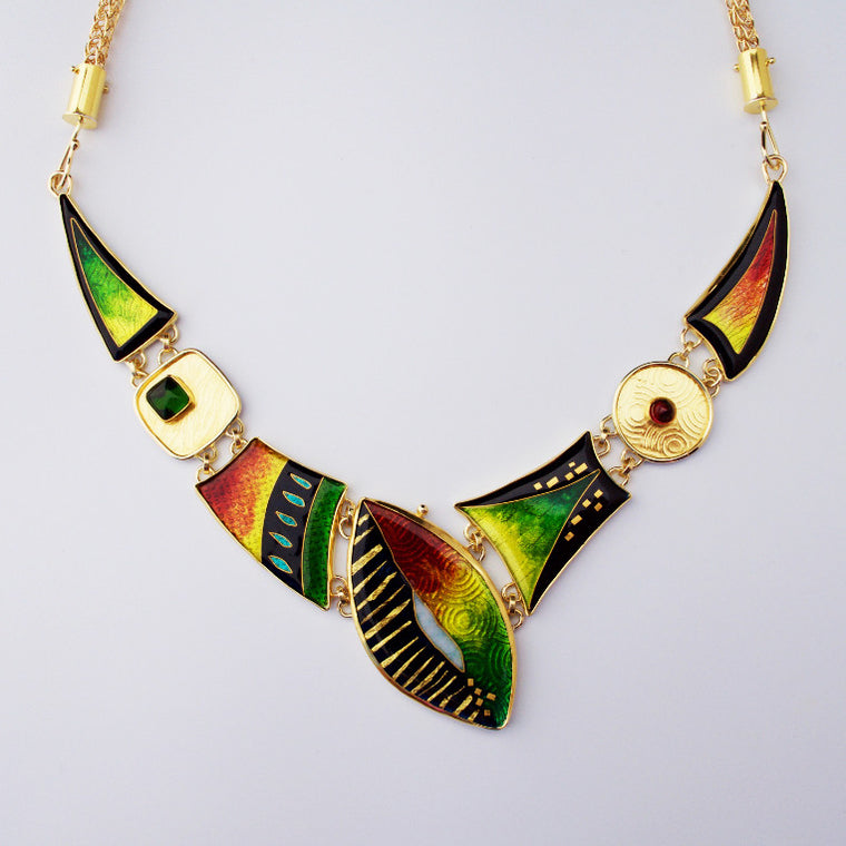 Enamel and gold necklace