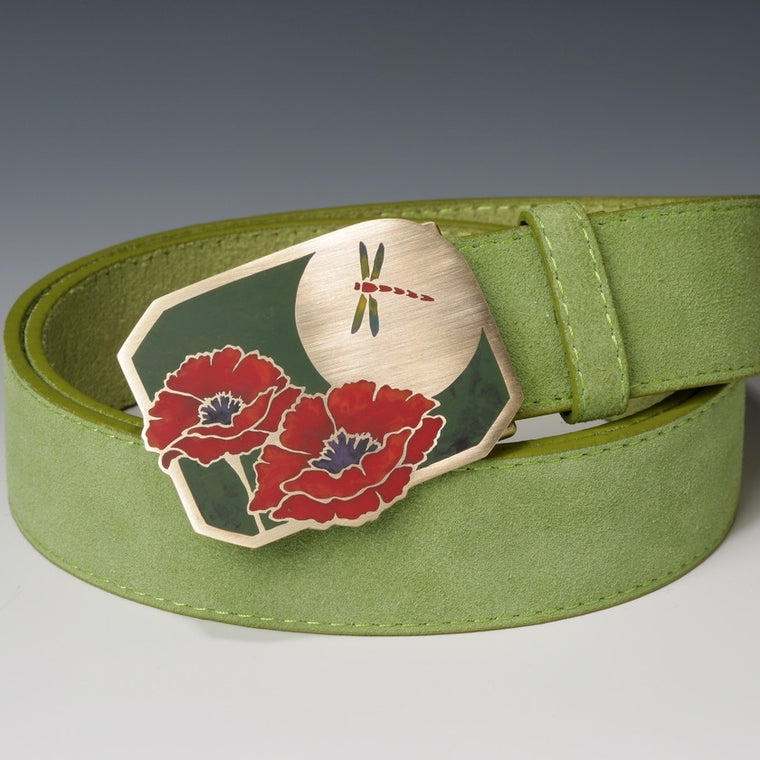 Poppy and Dragonfly Belt Buckle