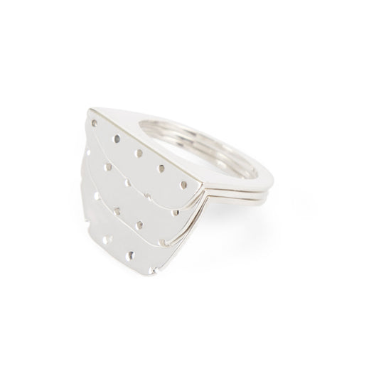 Dune Rings Perforated Silver