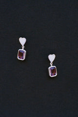 Heart Earrings with Amethyst