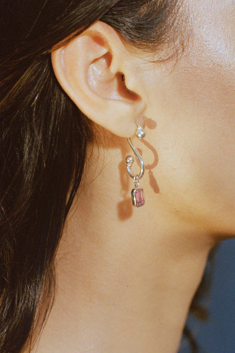 Hook Earrings with Stone