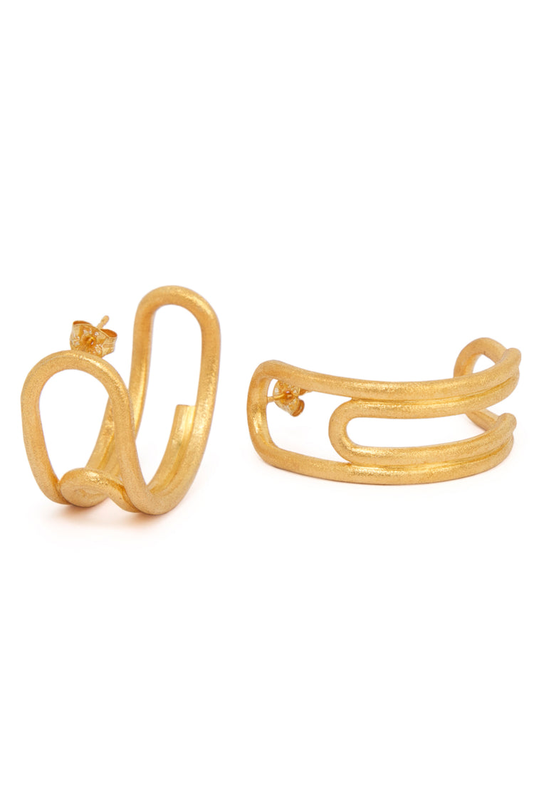 Curled Hoops (Medium) Gold