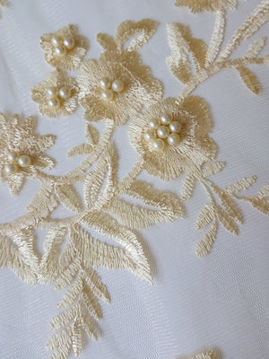 Pearl Embroidered Lace - Lemon