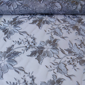 Alice Embroidered Lace - Grey - The Fabric Counter