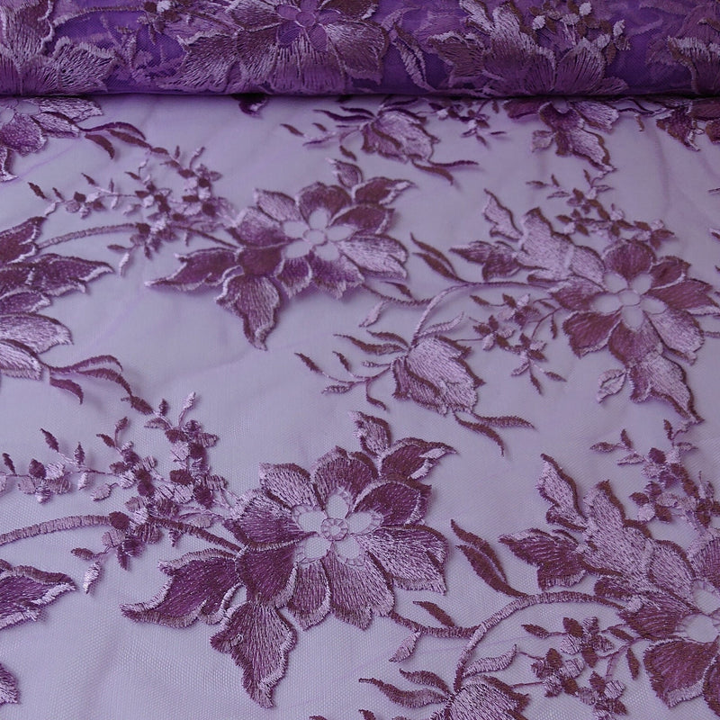 Alice Embroidered Lace - Lilac - The Fabric Counter