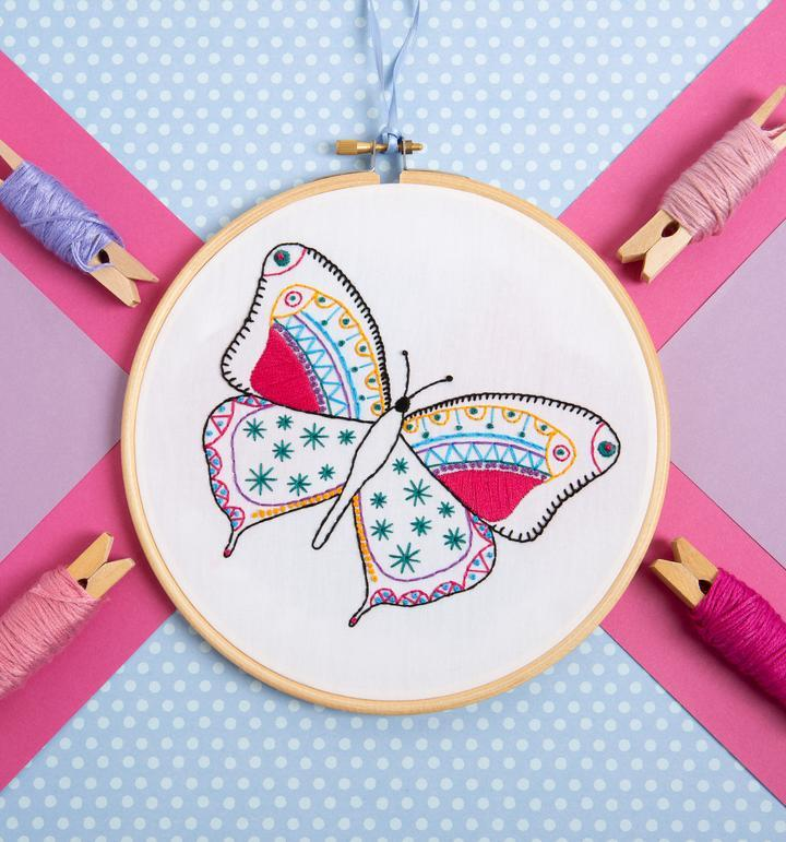 Butterfly Embroidery Kit - The Fabric Counter