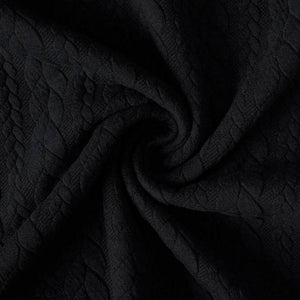 Cable Knitted Jacquard - Black - The Fabric Counter