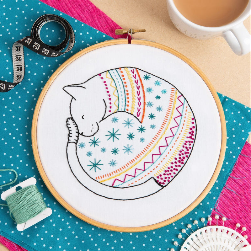 Cat Embroidery Kit - The Fabric Counter