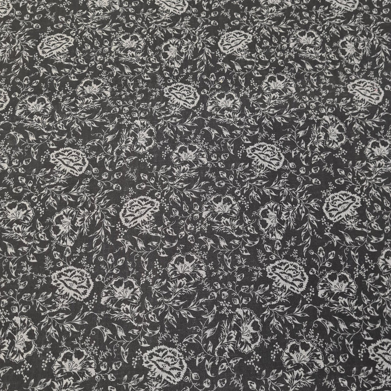 Charcoal Floral Cotton Print - The Fabric Counter
