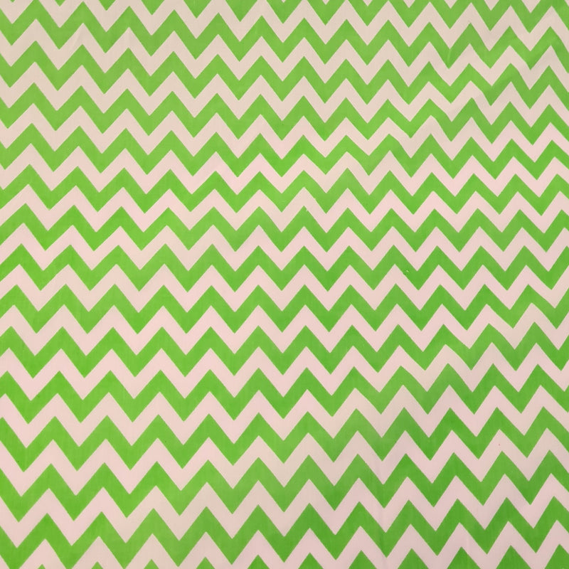Chevron Polycotton - Lime - The Fabric Counter