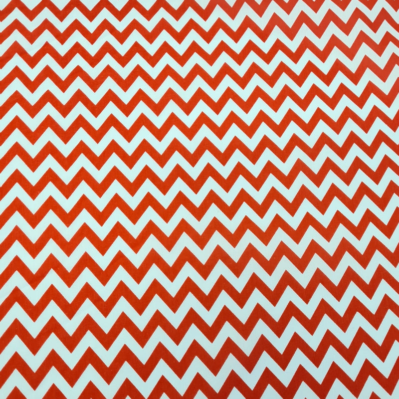 Chevron Polycotton - Red - The Fabric Counter