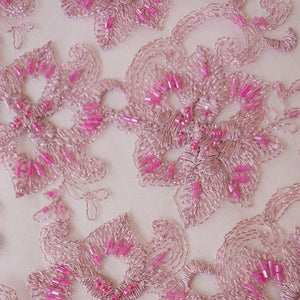 Chloe Beaded Lace - Pink - The Fabric Counter