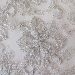 Chloe Beaded Lace - Silver - The Fabric Counter