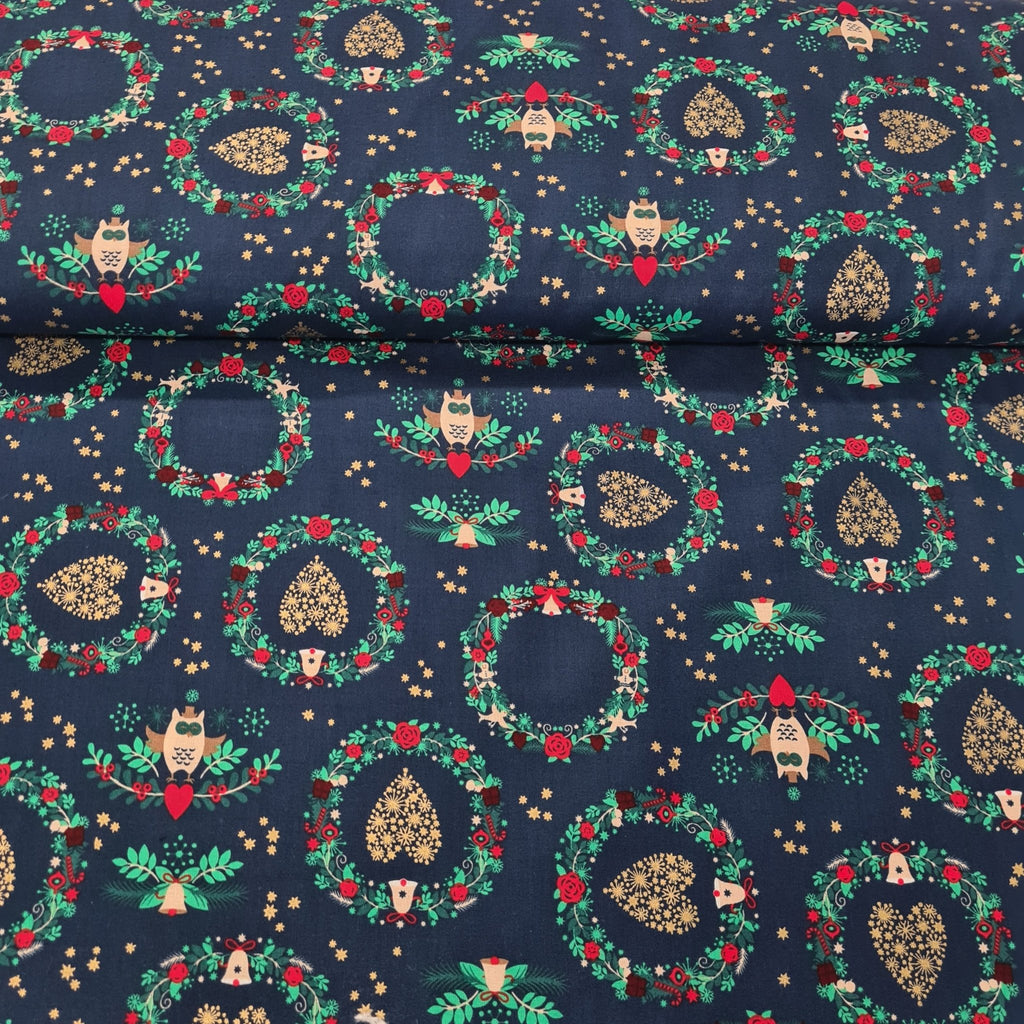 Christmas Cotton Print with Gold Foil - The Fabric Counter