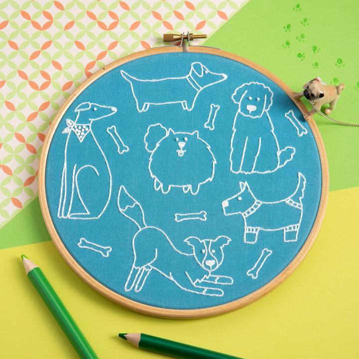 Dandy Dogs Embroidery Kit - The Fabric Counter