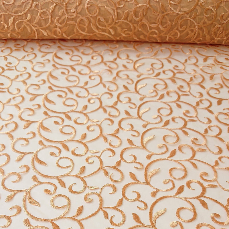 Darcie Embroidered Swirl Lace - Gold - The Fabric Counter