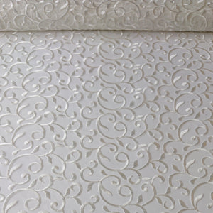 Darcie Embroidered Swirl Lace - Ivory - The Fabric Counter
