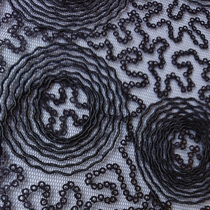 Embroidered Sequin Lace - Black - The Fabric Counter