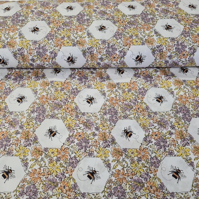 Floral Bee Cotton Print - The Fabric Counter