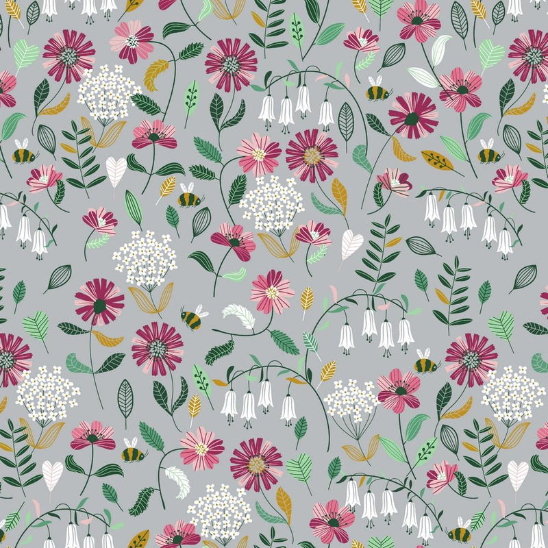 Floral & Bee - Cotton Print - The Fabric Counter