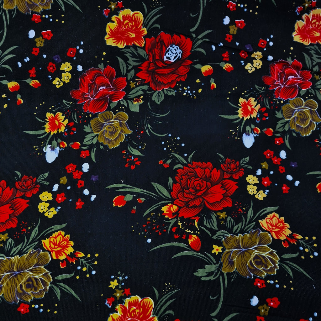 Floral Printed Corduroy - The Fabric Counter