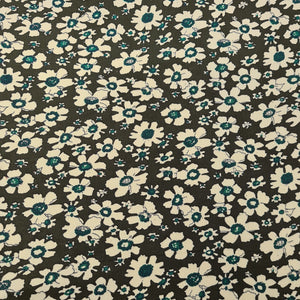 Floral Printed Corduroy - Khaki - The Fabric Counter