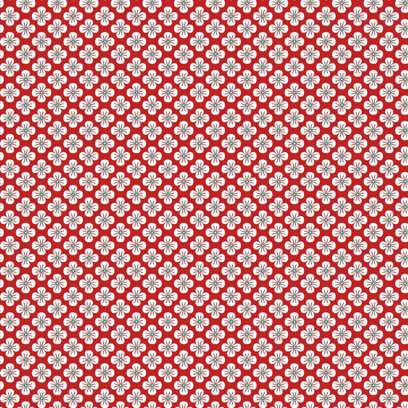 Flower - Cotton Print - Red - The Fabric Counter