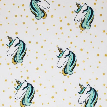 Glitter Unicorn Jersey - Mint - The Fabric Counter