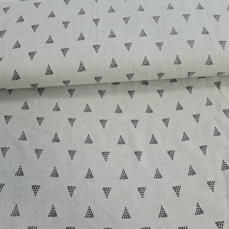 Linen Viscose Mix - Triangle (Blue/Mint) - The Fabric Counter