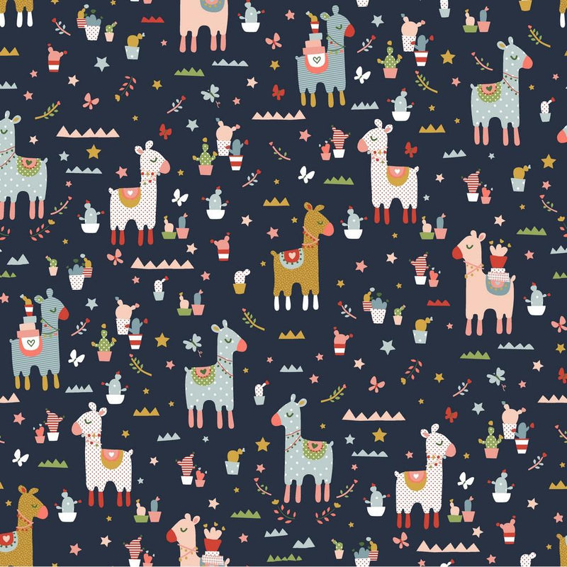 Llama Cactus- Cotton Print - The Fabric Counter