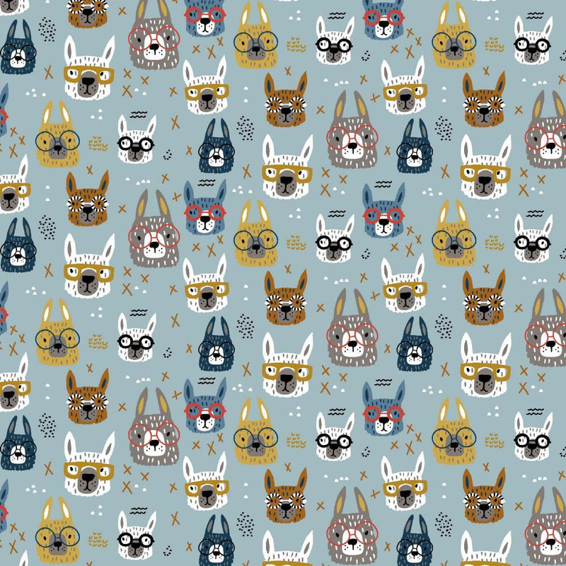 Llamas in Glasses - Cotton Jersey - The Fabric Counter