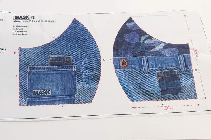 Mask Panel - Jeans Camo - The Fabric Counter