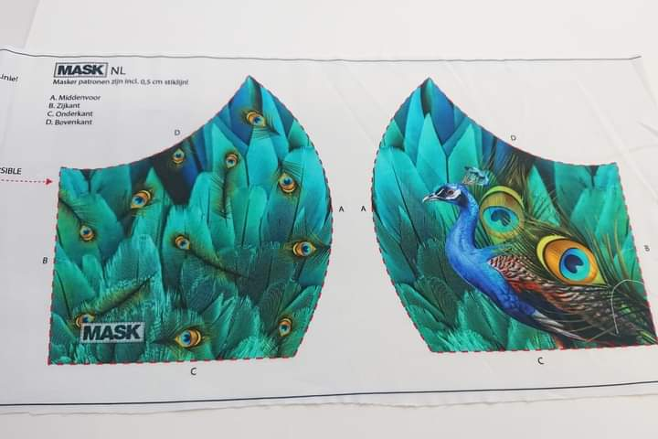 Mask Panel - Peacock - The Fabric Counter