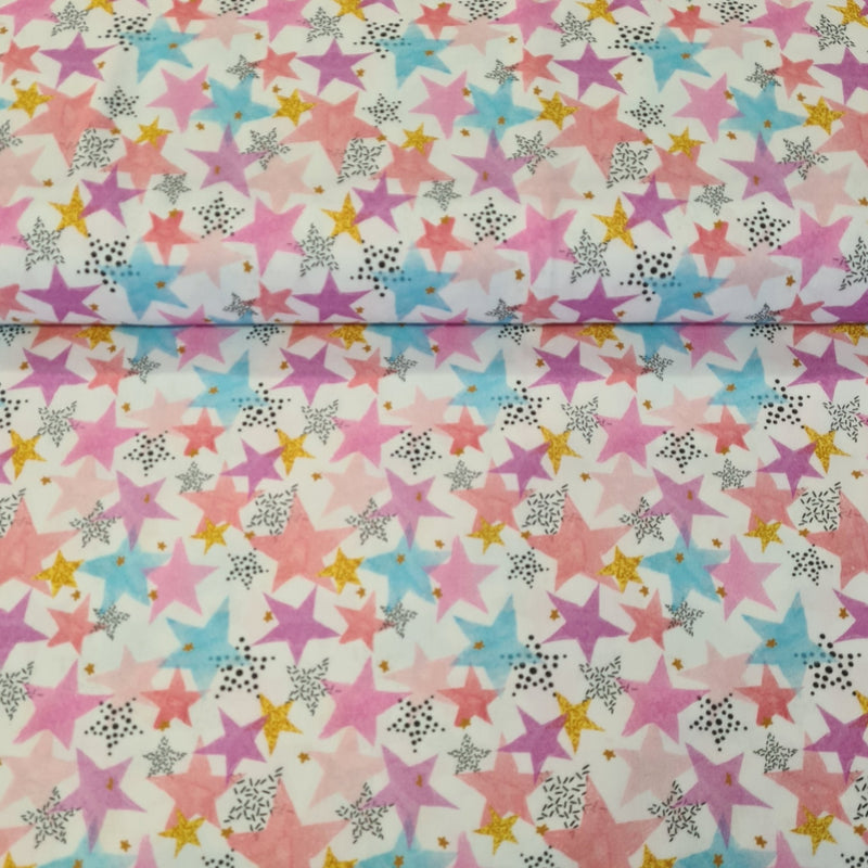 Mulicoloured Stars Digital Cotton Print - The Fabric Counter