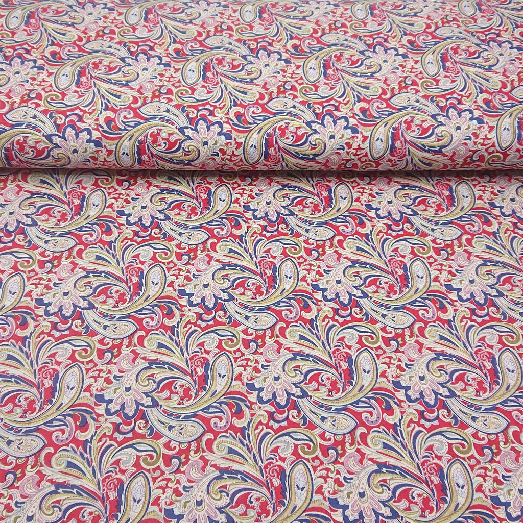 Paisley Cotton Lawn - Red - The Fabric Counter