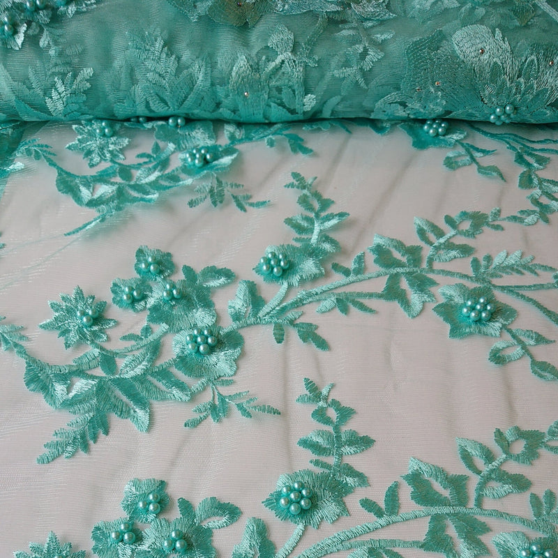 Pearl Embroidered Lace - Mint - The Fabric Counter
